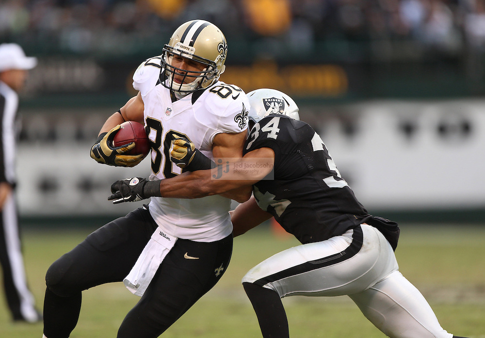 New Orleans Saints tight end Jimmy Graham (80) in action against the Oakland Raiders during an NFL game on Sunday, Nov. 18, 2012 at the Oakland Coliseum in Oakland, Ca. (AP Photo/Jed Jacobsohn)