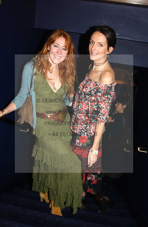 Left to right, CHARLOTTE TILBURY and SAFFRON ALDRIDGE at a party hosted by Tatler magazine to celebrate the publication of the 2004 Little Black Book held at Tramp, 38 Jermyn Street, London SW1 on 10th November 2004.<br /><br />NON EXCLUSIVE - WORLD RIGHTS