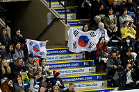 KELOWNA, BC - OCTOBER 26: Fans show support for Korea during ladies long program of Skate Canada International held at Prospera Place on October 26, 2019 in Kelowna, Canada. (Photo by Marissa Baecker/Shoot the Breeze)