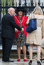 St Martin in the Fields Church, London, May 10th 2016. <br /> Charles, Prince of Wales and Camilla, Duchess of Cornwall to attend a reunion service at St Martin In the Fields followed by a tea party in support of the Victoria Cross and George Cross Association. PICTURED: Lord Mayor of Westminster Councillor The Lady Flight is welcomed at the church.