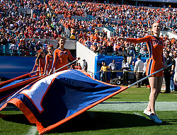Virginia cheerleaders prepare to lead the football team onto the field for the Gator Bowl.  The Virginia Cavaliers faced the Texas Tech Red Raiders in the 2008 Konica Menolta Gator Bowl held at the Jacksonville Municipal Stadium in Jacksonville, FL on January 1, 2008.