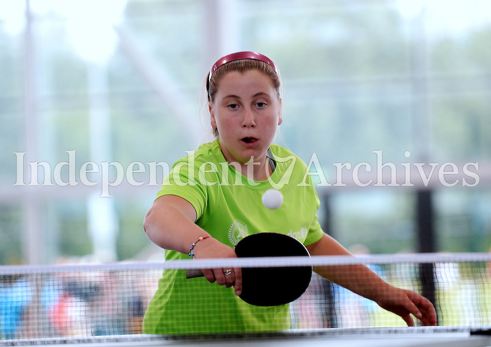 13 Aug 2016:  Leinster's Winnie McDonagh, from Clondalkin, Dublin, during the U13 Table Tennis. 2016 Community Games National Festival 2016.  Athlone Institute of Technology, Athlone, Co. Westmeath. Picture: Caroline Quinn