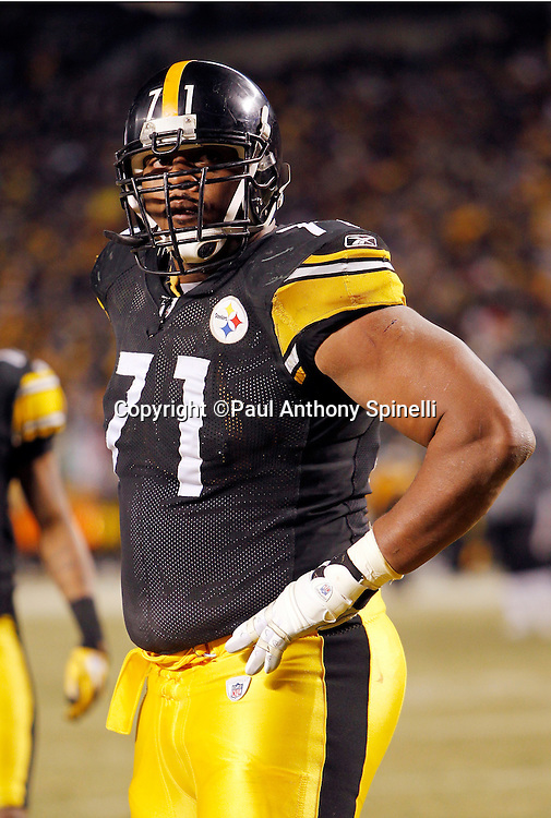 Pittsburgh Steelers offensive tackle Flozell Adams (71) looks on during the NFL 2011 AFC Championship playoff football game against the New York Jets on Sunday, January 23, 2011 in Pittsburgh, Pennsylvania. The Steelers won the game 24-19. (©Paul Anthony Spinelli)
