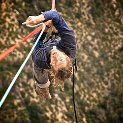 World class highliner Christian Krr during the 2 day rigging of the first SPACE line, 300m high, and 65, 45,30m legs, rigged in the Sordidon sector of Verdon Gorges, France...©2012 Pedro Pimentel