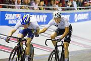 Nikki Terpstra (rechts) lanceert zijn teamgenoot Yoery Havik tijdens een koppelkoers. In Amsterdam vindt de Zesdaagse van Amsterdam plaats, een groots wielerevenement in het velodrome.<br /> <br /> Nikki Terpstra (right) pushes his team member Yoeri Havik at the Six Days of Amsterdam, a major cycling event in the velodrome.