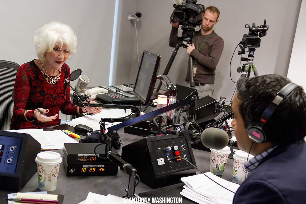 Diane Rehm, host of The Diane Rehm Show, talks with Manu Raju, senior political reporter for CNN, during her final show on Friday, December 23, 2017 at WAMU 88.5 in Washington, DC.