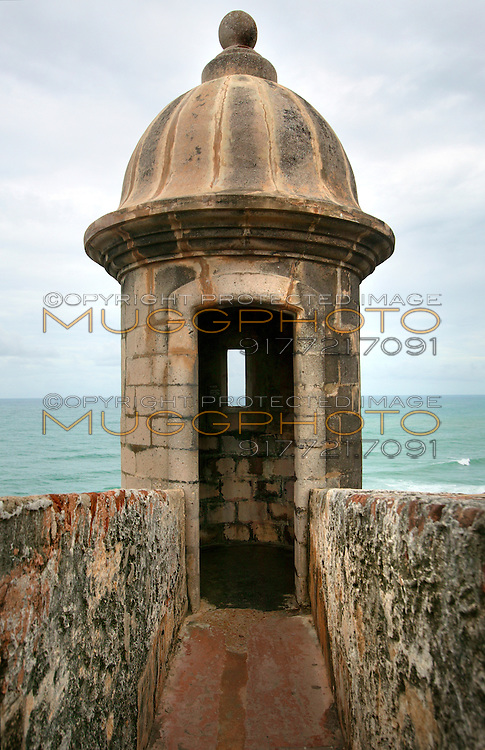 gun turret at El Morro Fort, Old San Juan, Puerto Rico.