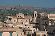 An aerial view of the Baroque style city of Noto, a UNESCO World Heritage Site in the Province of Syracuse, Sicily, Italy