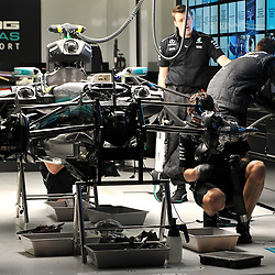 Mechanics trying to beat the curfew.<br />  Mercedes AMG Petronas F1 Team.<br /> <br /> Round 1 - 2nd day of the 2017 Formula 1 Rolex Australian Grand Prix at The circuit of Albert Park, Melbourne, Victoria on the 24th March 2017.<br /> Wayne Neal | SportPix.org.uk