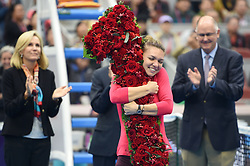 BEIJING, Oct. 7, 2017  Simona Halep of Romania celebrates after being presented with a bouquet in the shape of the number '1', after surging to world number one by winning her women's singles semifinal match against Jelena Ostapenko of Latvia at the China Open tennis tournament in Beijing on Oct. 7, 2017. Simona Halep won 2-0 and advanced to the final.  wll) (Credit Image: © Ju Huanzong/Xinhua via ZUMA Wire)