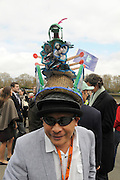 Putney-Mortlake  LONDON. GREAT BRITAIN, 2012 University Boat Race. Raced over the Championship Course. Putney/Mortlake. General View, GV, man with Boat Race hat. Saturday 07/04/2012 [Mandatory Credit; Karon Phillips/Intersport-images]..