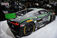 An Audi R8 LMS endurance racer with rear spoiler is shown at the New York International Auto Show 2016, at the Jacob Javits Center. This was Press Preview Day one of NYIAS, and the Trade Show will be open to the public for ten days, March 25th through April 3rd.