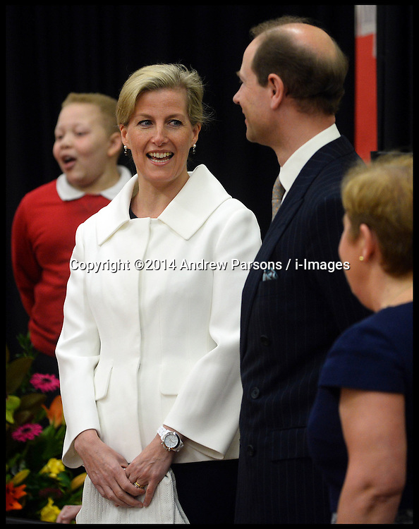 The Countess of Wessex sings happy birthday to The Earl of Wessex on his 50th Birthday as The Earl and Countess of Wessex, Founders of the Wessex Youth Trust, visit The Robert Browning Primary School, Walworth, London, United Kingdom, to see the work of youth charity Kidscape, Monday, 10th March 2014. Picture by Andrew Parsons / i-Images