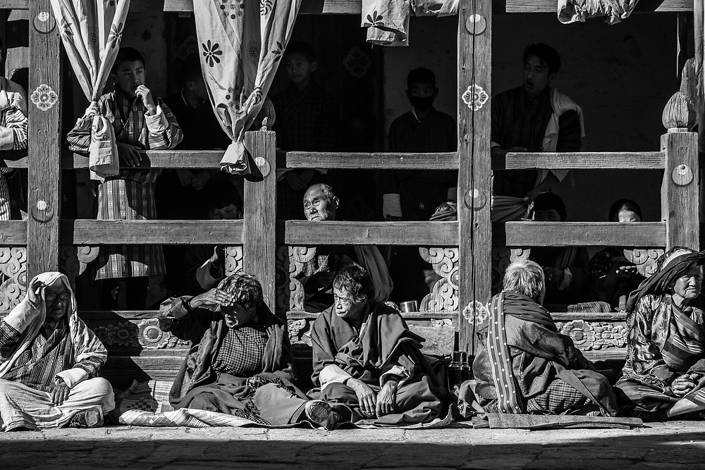 A group of local spectators at a festival in Trongsa, Bhutan.