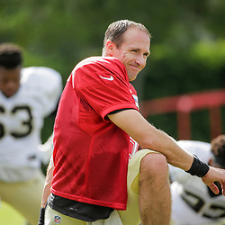 Jul 28, 2019; Metairie, LA, USA; New Orleans Saints quarterback Drew Brees (9) during training camp at the Ochsner Sports Performance Center. Mandatory Credit: Derick E. Hingle-USA TODAY Sports