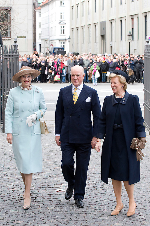 14.04.11. Copenhagen, Denmark..Princess Benedikte, Prince Richard and Queen Anne-Marie of Greecearrival to the Holmens Church to christening ceremony..Photo: Ricardo Ramirez