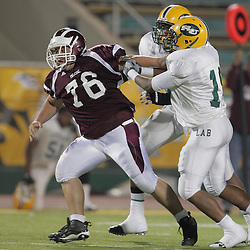 31 October, 2008: St. Thomas Aquinas NG/OT James Cox (#76)  The St. Thomas Falcons recorded their first shut out of the season with a 41-0 shutout of the Southern Lab Kittens at Strawberry Stadium in Hammond, LA.