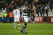 Forest Green Rovers Isaiah Osbourne(34) applauds the travelling fans during the EFL Sky Bet League 2 match between Cambridge United and Forest Green Rovers at the Cambs Glass Stadium, Cambridge, England on 26 September 2017. Photo by Shane Healey.