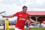 Ebbsfleet United midfielder Andy Drury (8) celebrates his goal 2-1 during the Vanarama National League South match between Ebbsfleet United and East Thurrock United at the Enclosed Ground, Whitehawk, United Kingdom on 4 March 2017. Photo by Jon Bromley.