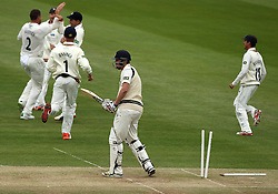 Durham's John Hastings celebrates the wicket of Middlesex's Ollie Rayner - Photo mandatory by-line: Robbie Stephenson/JMP - Mobile: 07966 386802 - 04/05/2015 - SPORT - Football - London - Lords  - Middlesex CCC v Durham CCC - County Championship Division One