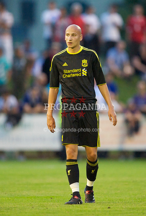 ZUG, SWITZERLAND - Wednesday, July 21, 2010: Liverpool's Jonjo Shelvey in action against Grasshopper Club Zurich during the Reds' first preseason match of the 2010/2011 season at the Herti Stadium. (Pic by David Rawcliffe/Propaganda)