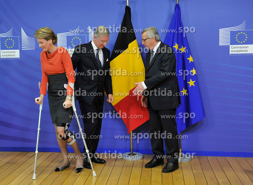 European Commission President Jean-Claude Juncker (R) poses with King Philippe (C) and Queen Mathilde of Belgium prior to a meeting at the EU headquarters in Brussels, Feb. 25, 2015. EXPA Pictures &copy; 2015, PhotoCredit: EXPA/ Photoshot/ Ye Pingfan<br /> <br /> *****ATTENTION - for AUT, SLO, CRO, SRB, BIH, MAZ only*****