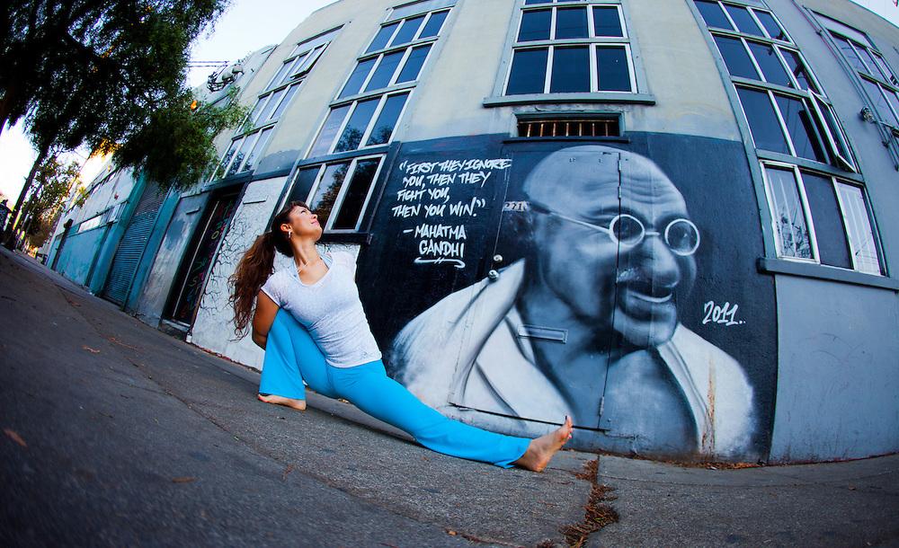 Giselle Mari at Gandhi Mural graffiti, San Francisco