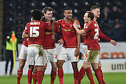 Nottingham Forest celebrates Gary Gardner(22) of Nottingham Forest scoring to go 1-0 up during the Sky Bet Championship match between Hull City and Nottingham Forest at the KC Stadium, Kingston upon Hull, England on 15 March 2016. Photo by Ian Lyall.