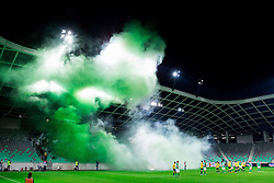 Green Dragons, supporters of Olimpija celebrate their 25th Anniversary during football match between NK Olimpija Ljubljana and NK Celje in 14th Round of Prva Liga Telekom Slovenije 2013/14, on October 19, 2013 in SRC Stozice, Ljubljana, Slovenia. (Photo by Vid Ponikvar / Sportida)