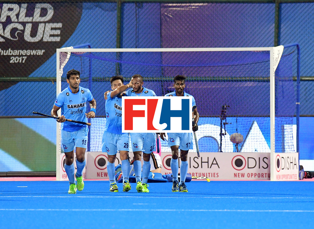 Odisha Men's Hockey World League Final Bhubaneswar 2017<br /> Match id:21<br /> India v Germany<br /> Foto: Sunil Sowmarpet (Ind) scored 1-0 <br /> COPYRIGHT WORLDSPORTPICS FRANK UIJLENBROEK