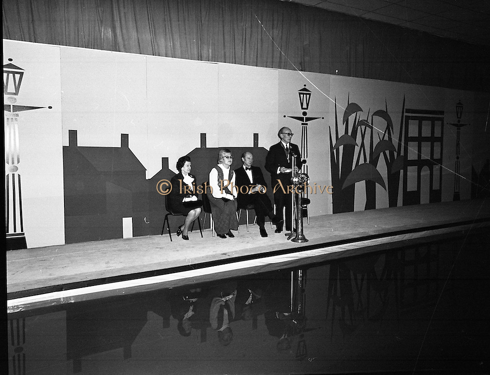 Mr Jack Lynch Opens the Boat show..1973..27.02.1973..02.27.1973..27th February 1973..After a hectic general election campaign,An Taoiseach, Jack Lynch found time before the ballot counts to officially open the Irish Boat Show in the RDS (Royal Dublin Showgrounds)...Picture of Mr James O'Connor,Organising Sec., Irish Federation Of Marine Industries, addressing the guests at the launch of the Boat Show.