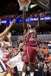 Boston College guard Rakim Sanders (15) shoots a reverse layup against Virginia.  The Virginia Cavaliers men's basketball team faced the Boston College Golden Eagles at the John Paul Jones Arena in Charlottesville, VA on January 19, 2008.