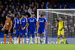 Petr Cech of Chelsea points behind the Chelsea wall - Photo mandatory by-line: Rogan Thomson/JMP - 07966 386802 - 13/12/2014 - SPORT - FOOTBALL - London, England - Stamford Bridge - Chelsea v Hull City - Barclays Premier League.