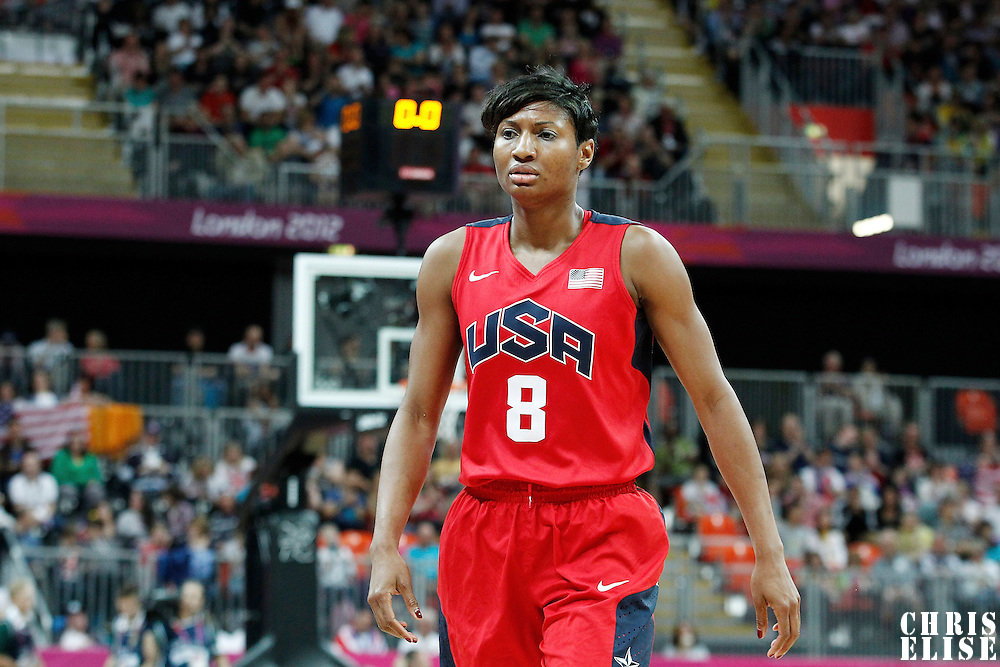 05 August 2012: USA Angel McCoughtry looks dejected during 114-66 Team USA victory over Team China, during the women's basketball preliminary, at the Basketball Arena, in London, Great Britain.