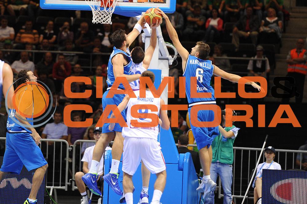 DESCRIZIONE : Siauliai Lithuania Lituania Eurobasket Men 2011 Preliminary Round Serbia Italia Serbia Italy<br /> GIOCATORE : Andrea Bargnani Stefano Mancinelli<br /> SQUADRA : Italia Italy<br /> EVENTO : Eurobasket Men 2011<br /> GARA : Serbia Italia Serbia Italy<br /> DATA : 31/08/2011 <br /> CATEGORIA : stoppata<br /> SPORT : Pallacanestro <br /> AUTORE : Agenzia Ciamillo-Castoria/GiulioCiamillo<br /> Galleria : Eurobasket Men 2011 <br /> Fotonotizia : Siauliai Lithuania Lituania Eurobasket Men 2011 Preliminary Round Serbia Italia Serbia Italy<br /> Predefinita :