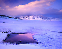Winter dawn over Mammoth Hot Springs, Yellowstone National Park Wyoming