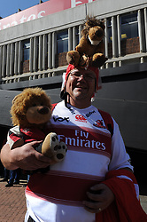 28-07-18 Emirates Airline Park, Johannesburg. Super Rugby semi-final Emirates Lions vs NSW Waratahs. Lions fan Charl Roux holds a fluffy lions toy before the start of the semi-final. Picture: Karen Sandison/African News Agency (ANA)