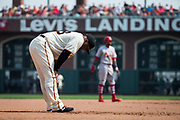 San Francisco Giants third baseman Pablo Sandoval (48) hangs his head as the St. Louis Cardinals dominate the San Francisco Giants at AT&T Park in San Francisco, California, on September 3, 2017. (Stan Olszewski/Special to S.F. Examiner)