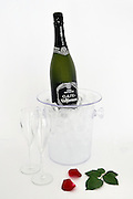 Open Champagne bottle in an ice bucket with two glasses