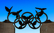 The Olympic Rings with peace doves, Atlanta, Georgia, USA