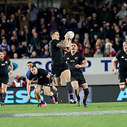 All Blacks, Sony Bill Williams receives a pass in the first half vs Samoa.  The New Zealand All Blacks defeated Manu Samoa 15's 83-0 at Eden Park, Auckland, New Zealand.  Photo by Barry Markowitz, 6/16/17