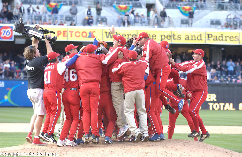 Team Cuba celebrates after beating Team Dominican Republic 3-1 in Semi-Final action of the World Baseball Classic at PETCO Park, San Diego, CA.