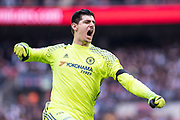 Chelsea goalkeeper Thibaut Courtois (13) during the The FA Cup semi final match between Chelsea and Tottenham Hotspur at Stamford Bridge, London, England on 22 April 2017. Photo by Sebastian Frej.