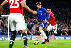 Marcos Alonso of Chelsea is challenged by Chris Smalling of Manchester United - Rogan/JMP - 05/11/2017 - FOOTBALL - Stamford Bridge - London, England - Chelsea v Manchester United - Premier League.