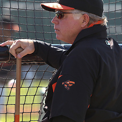 March 14, 2011; Sarasota, FL, USA; Baltimore Orioles manager Buck Showalter (26) before a spring training exhibition game against the Pittsburgh Pirates at Ed Smith Stadium.   Mandatory Credit: Derick E. Hingle