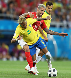 ROSTOV-ON-DON, June 17, 2018  Neymar (L) of Brazil vies with Valon Behrami (C) of Switzerland during a group E match between Brazil and Switzerland at the 2018 FIFA World Cup in Rostov-on-Don, Russia, June 17, 2018. (Credit Image: © Lu Jinbo/Xinhua via ZUMA Wire)