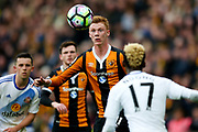 Hull City midfielder Sam Clucas (11) with his eye on the ball  during the Premier League match between Hull City and Sunderland at the KCOM Stadium, Kingston upon Hull, England on 6 May 2017. Photo by Simon Davies.