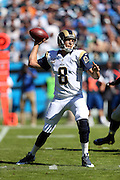 St. Louis Rams quarterback Sam Bradford (8) throws an incomplete first quarter pass on third down during the NFL week 7 football game against the Carolina Panthers on Sunday, Oct. 20, 2013 in Charlotte, N.C.. The Panthers won the game 30-15. ©Paul Anthony Spinelli
