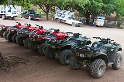 All terrain vehicles (ATVs) lined up for guests, Rancho Capomo, Las Palmas, Puerto Vallarta, Jalisco, Mexico