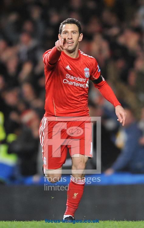 Picture by Daniel Hambury/Focus Images Ltd. 07813 022858.29/11/11.Maxi Rodriguez of Liverpool celebrates scoring his side's first goal during the Carling Cup quater final match at Stamford Bridge stadium, London.